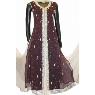BEAUTIFUL FRESH STONE EMBROIDERY FROCK BROWN WEDDING DRESS A2