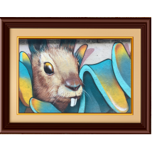 Beautiful Rabbit painting with wooden frame