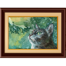 Beautiful Cat Painting with Wooden Frame