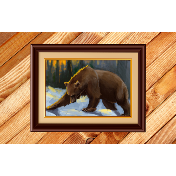 Beautiful Bear Wall Art Painting for Home Decor with wooden Frame