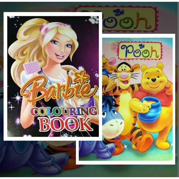 Barbie and Pooh Coloring Books