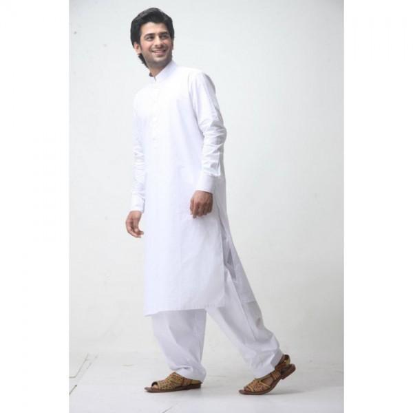 Designer White Shalwar Kameez (Medium)