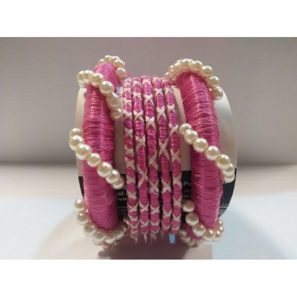 Cute Pink Color Handmade Bangles set