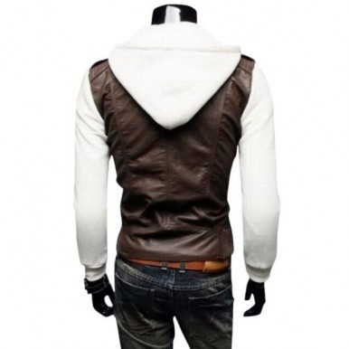 Highstreet Fashion Men Leather Jacket with Hoodie