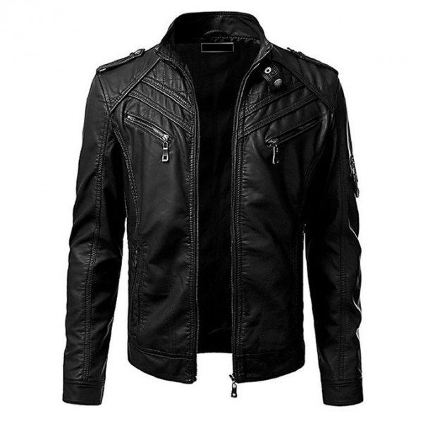 Moncler Black Leather Jacket For Men