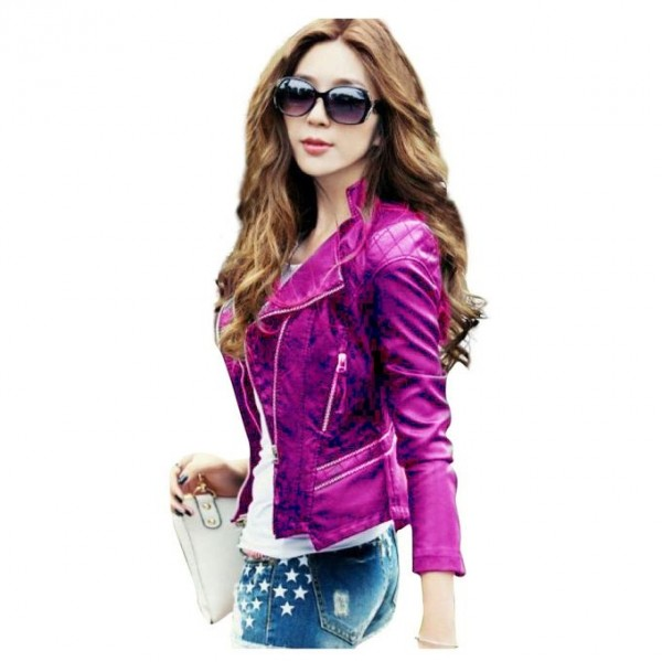 Moncler Deep Pink Leather Jacket For Women
