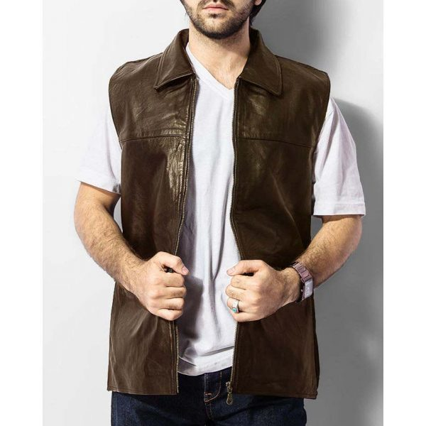 Highstreet Brown Faux Leather Waist Coat For Men