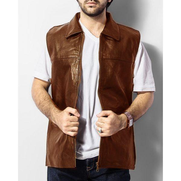 Highstreet Fashion Mustard Men Faux Leather Waist Coat
