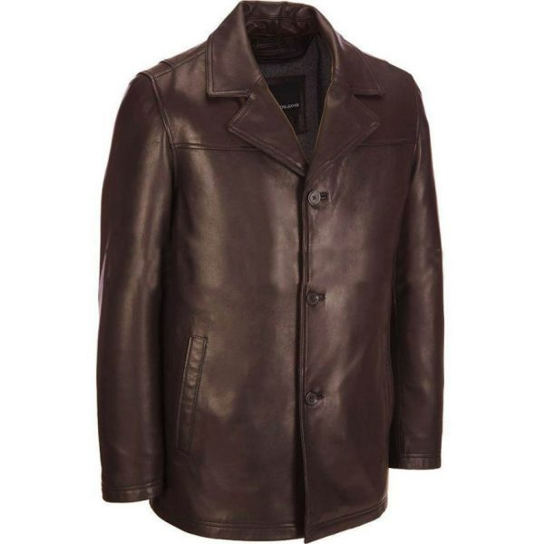 Highstreet Fashion Brown Faux Leather Coat For Men