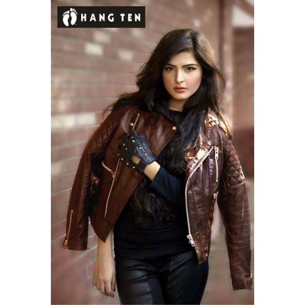 Highstreet Faux Leather Jacket For Women.