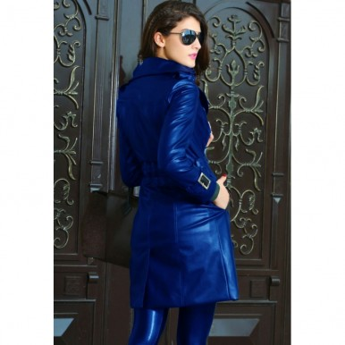 Highstreet Blue Faux Leather Long Coat For Women.