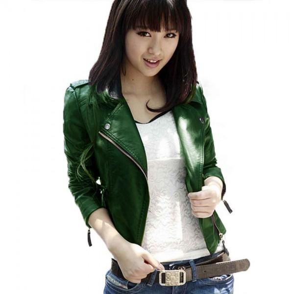 Highstreet Green Faux Leather Jacket For Women