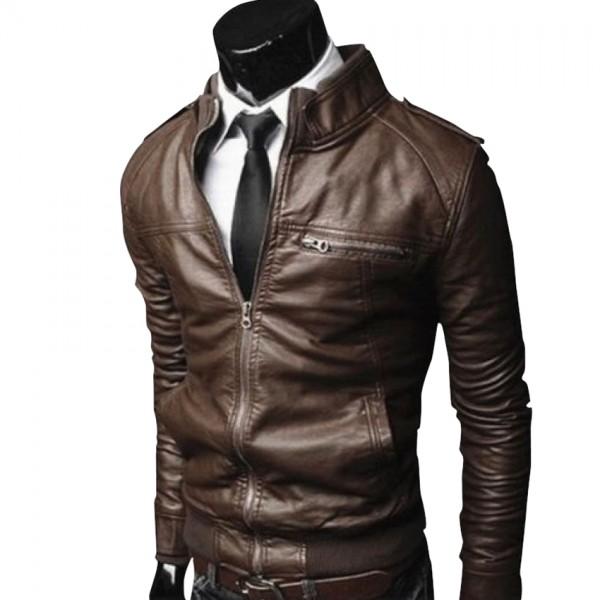 Highstreet Brown Men Faux Leather Jacket