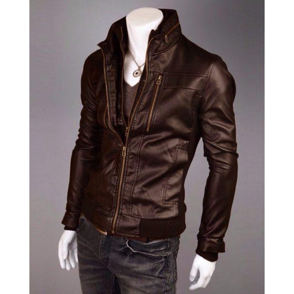 Highstreet Fashion Brown Men Faux Leather Jacket in Brown