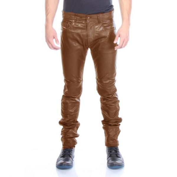 Highstreet Mustard Faux Leather Pant For Men