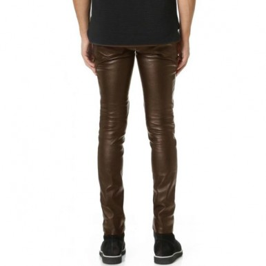 Highstreet Brown Faux Leather Pant For Men