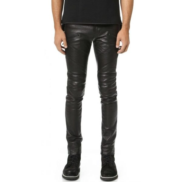 Highstreet Black Faux Leather Pant For Men