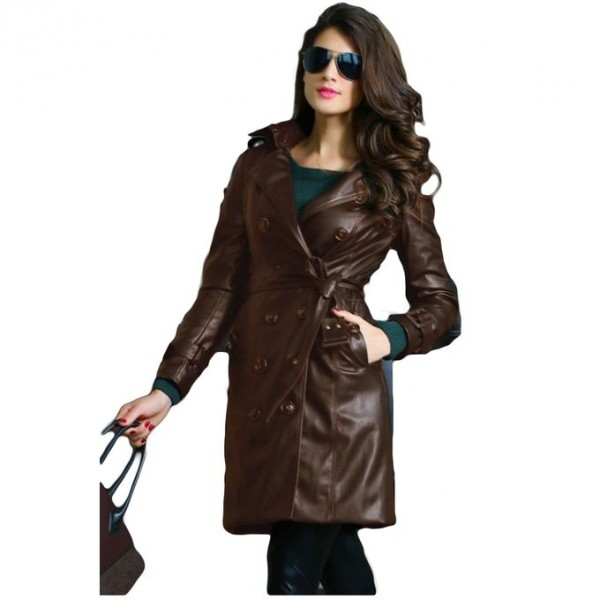 Moncler Brown Leather Long Coat For Women