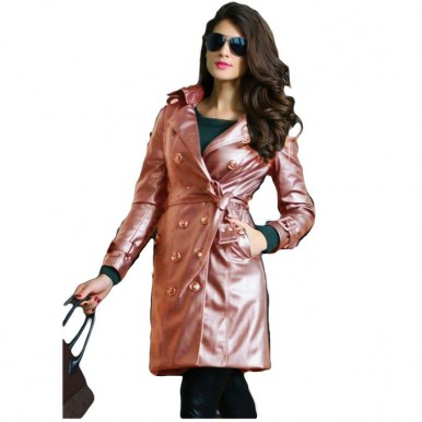 Moncler Skin Leather Long Coat For Women