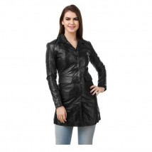Black Leather Long coat For Women