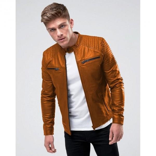 Moncler Highstreet Camel Faux Leather Jacket For Men - CF04