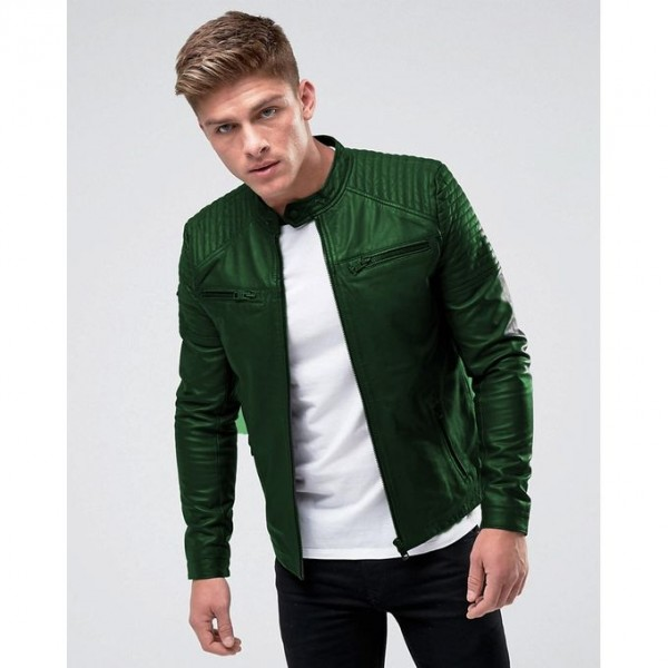 Moncler Highstreet Green Faux Leather Jacket For Men - GF05