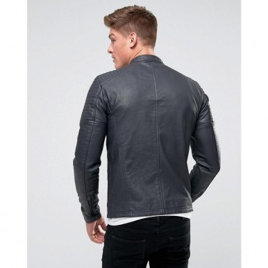 Moncler Highstreet Grey Faux Leather Jacket For Men - GF77