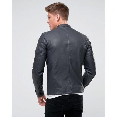 Moncler Highstreet Grey Faux Leather Jacket For Men - GF77