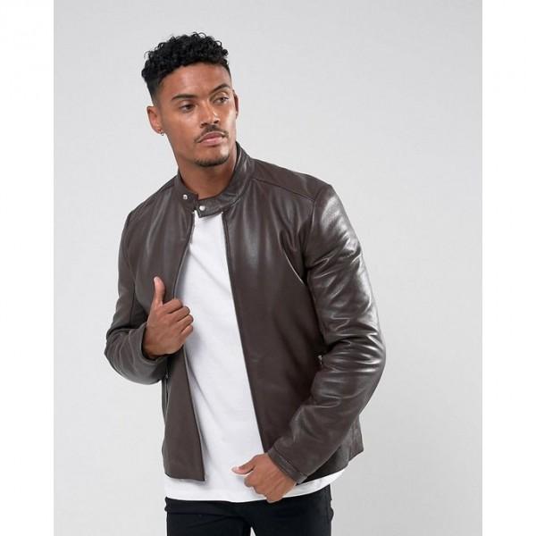 Moncler Highstreet Grey Faux Leather Jacket For Men - GF65