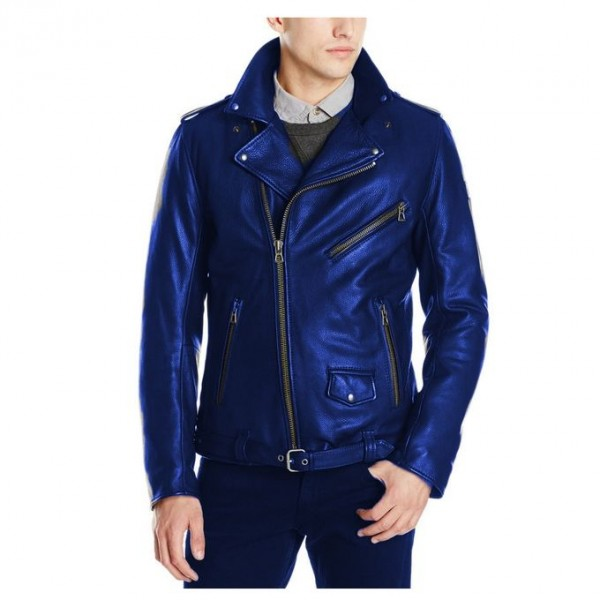 Moncler Highstreet Blue Faux Leather Jacket For Men - MF98