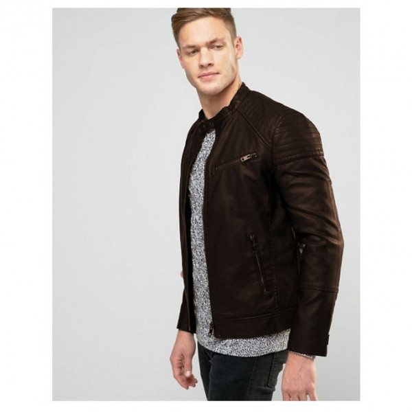 Moncler Highstreet Brown Faux Leather Jacket For Men - BF23