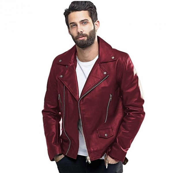 Moncler Highstreet Maroon Faux Leather Jacket For Men - MF67