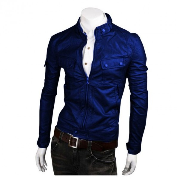 Moncler Highstreet Blue Faux Leather Jacket For Men - BF78