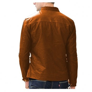 Moncler Highstreet Camel Faux Leather Jacket For Men - CF03