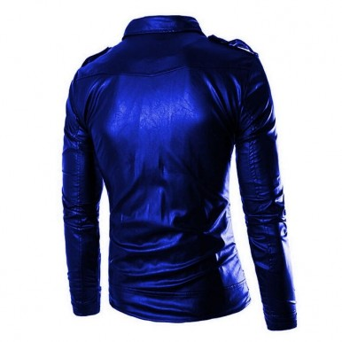 Moncler Highstreet Electric Blue Faux Leather Jacket For Men