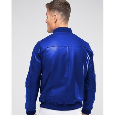Moncler Highstreet Blue Faux Leather Jacket For Men - BF90