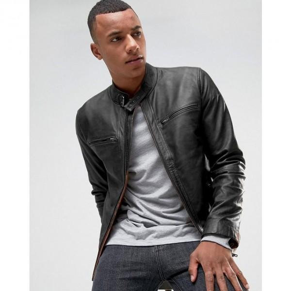 Moncler Highstreet Black Faux Leather Jacket For Men - CB87