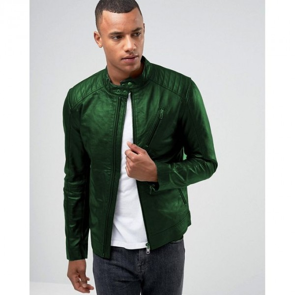 Moncler Highstreet Green Faux Leather Jacket For Men - GF03