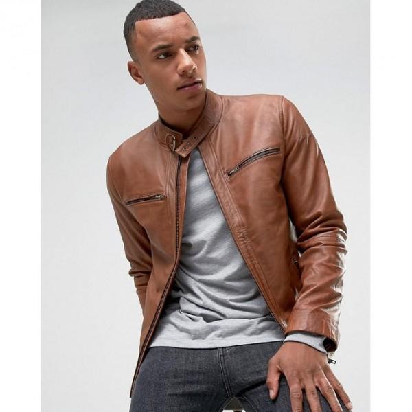 Moncler Highstreet Camel Faux Leather Jacket For Men - CF02