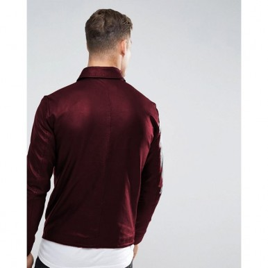 Moncler Highstreet Maroon Faux Leather Jacket For Men - MF92