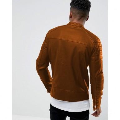 Moncler Highstreet Mustard Faux Leather Jacket For Men MF92