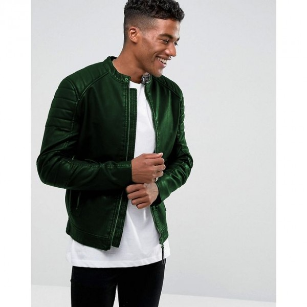 Moncler Highstreet Green Faux Leather Jacket For Men - GF45