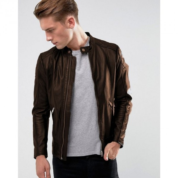 Moncler Highstreet Brown Faux Leather Jacket For Men - BF32
