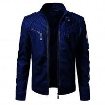 Front Pocket Highstreet Faux Leather Jacket for Men in Blue