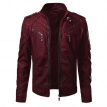 Front Pocket Highstreet Faux Leather Jacket for Men in Maroon