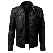 Front Pocket Leather Jacket For Men In Black