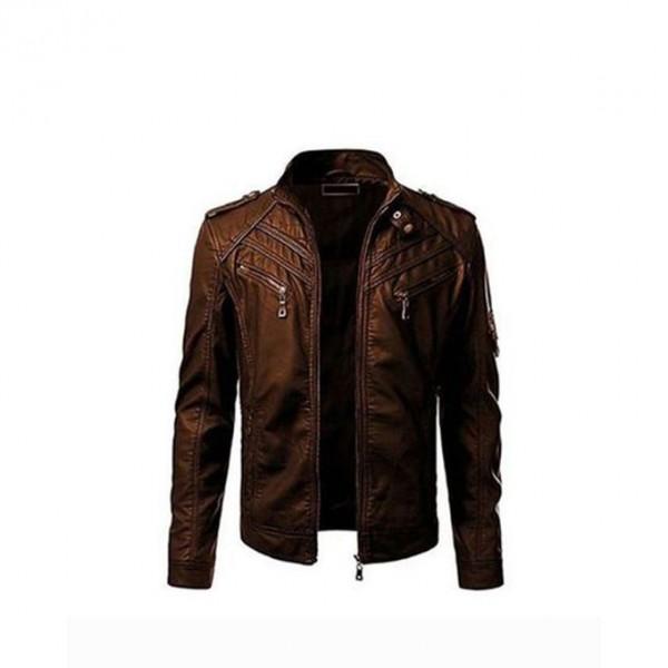 Front Pocket Leather Jacket For Men In Brown