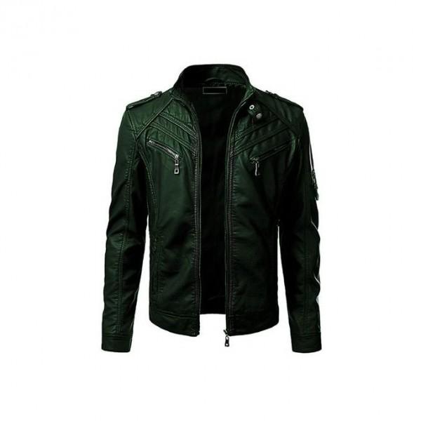 Front Pocket Leather Jacket For Men In Green