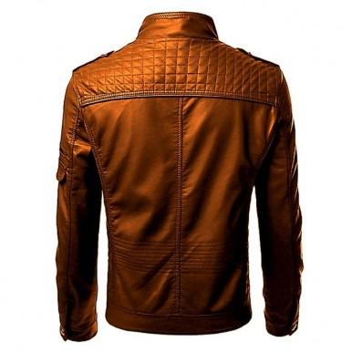 Front Pocket Leather Jacket For Men In Mustard Color