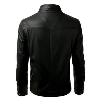 Front Pockets Black Leather Jacket